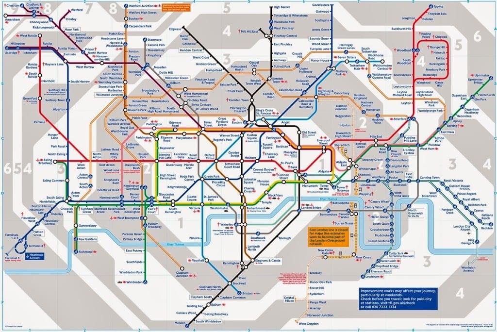 mapa de londres por zonas Zonas de transporte de Londres | Guía de Londres mapa de londres por zonas