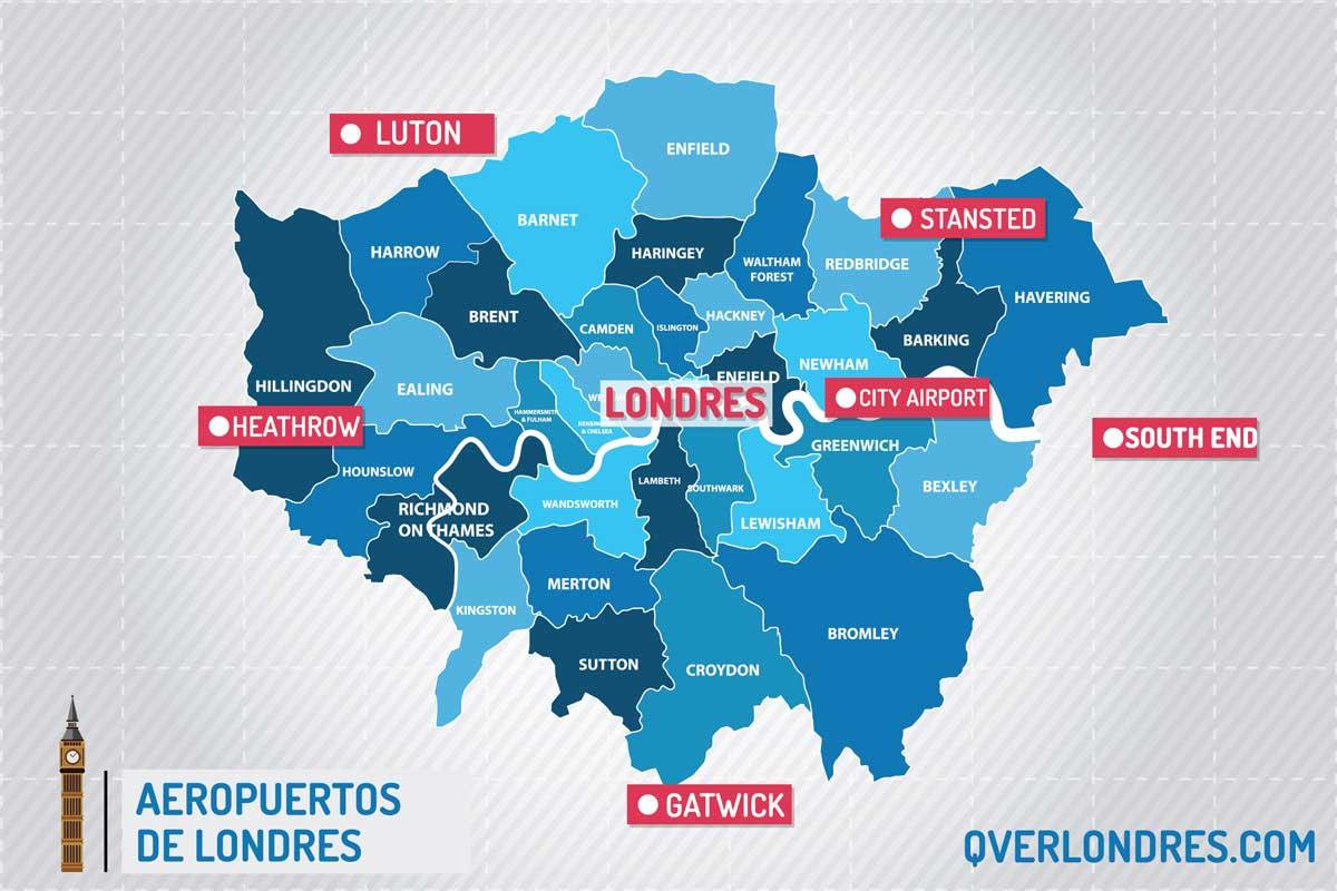 Londres En El Mapa.Aeropuertos Londres Guia 2019 De Los Aeropuertos De Londres