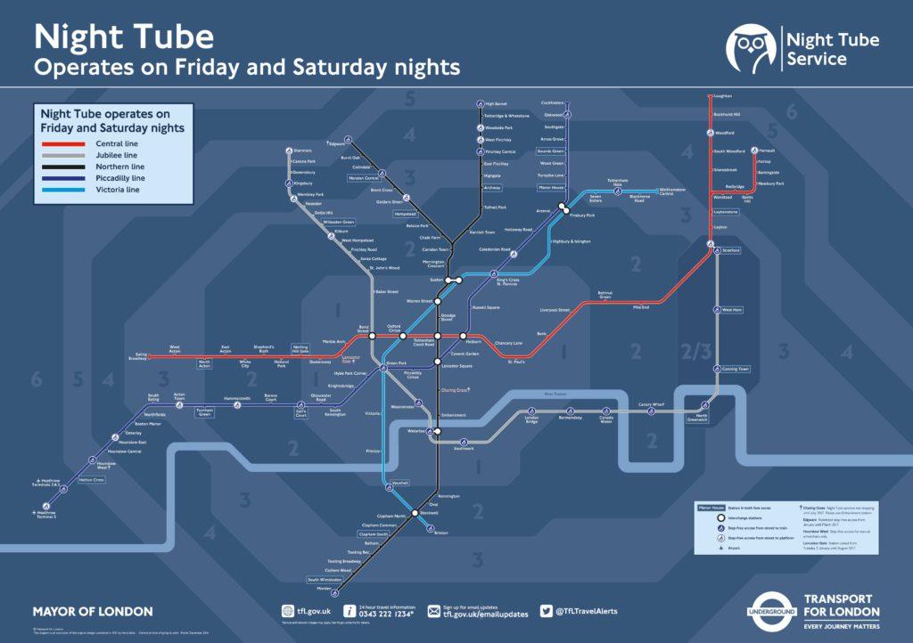 Mapa Metro de Londres Nocturno